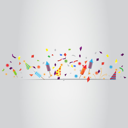confetti and firework background, can be ues for celebration, new year, birthday, christmas greeting card.  also design for web page, business banner, cover page. vector illustration
