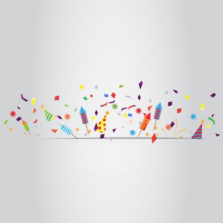 celebration: confeti y fuegos artificiales de fondo, pueden ser ues para la celebración, año nuevo, cumpleaños, tarjeta de felicitación de la Navidad. También el diseño de la página web, banner de negocio, portada. ilustración vectorial