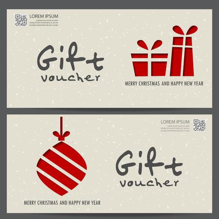 Kerstmis en Nieuwjaar cadeaubon certificaat coupon sjabloon. kan worden gebruikt voor zakelijke winkelen kaart, de klant verkoop en promotie, lay-out, banner, web design. vector illustratie Stockfoto - 47390977