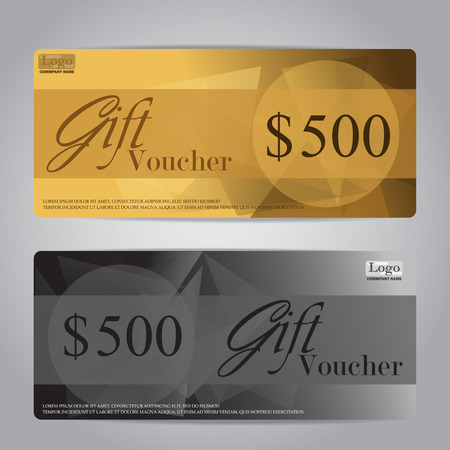 coupon: gift voucher certificate coupon template, can be use for business shopping card, customer sale and promotion, layout, banner, web design. vector illustration