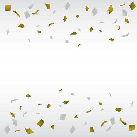 gold and silver confetti background, can be ues for celebration, new year, birthday, christmas greeting card.  also design for web page, business banner, cover page. vector illustration Çizim