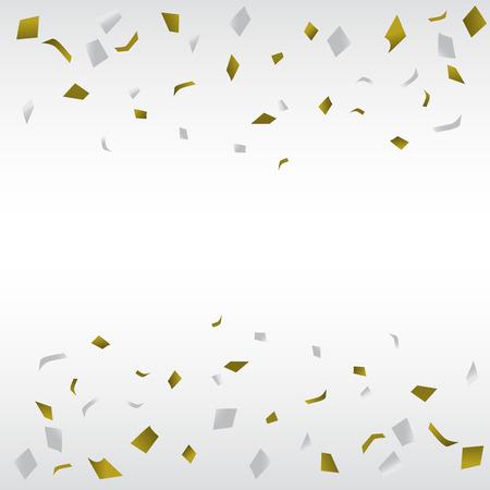 gouden en zilveren confetti achtergrond, kan UES voor de viering, nieuw jaar, verjaardag, kerst wenskaart. ook het ontwerp voor Web-pagina, business banner, voorblad. vector illustratie