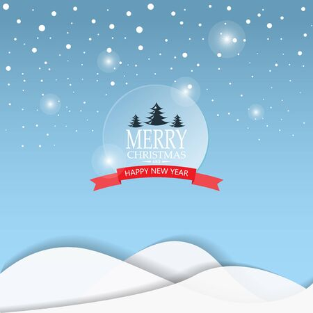 web backdrop: Merry Christmas snowfall scenic greeting card with lettering. can be use for background backdrop and web page design, vector illustration. Illustration