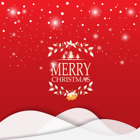 scenic: Merry Christmas snowfall scenic greeting card with lettering. can be use for background backdrop and web page design, vector illustration. Illustration
