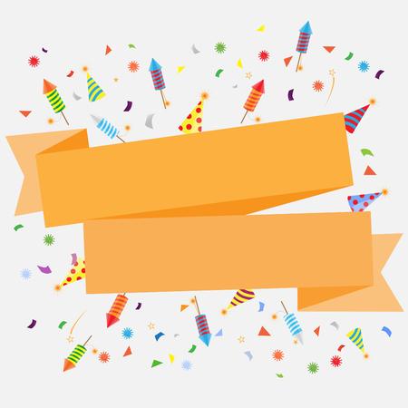 fuegos artificiales: confeti y fuegos artificiales de fondo, pueden ser ues para la celebración, año nuevo, cumpleaños, tarjeta de felicitación de la Navidad. También el diseño de la página web, banner de negocios, ilustración vectorial