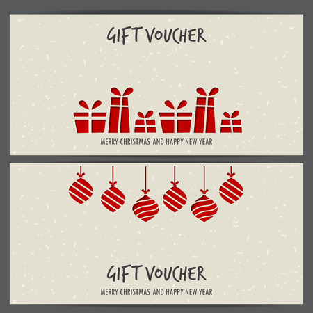 gift certificate: christmas and new year gift voucher certificate coupon template. can be use for business shopping card, customer sale and promotion, layout, banner, web design. vector  illustration