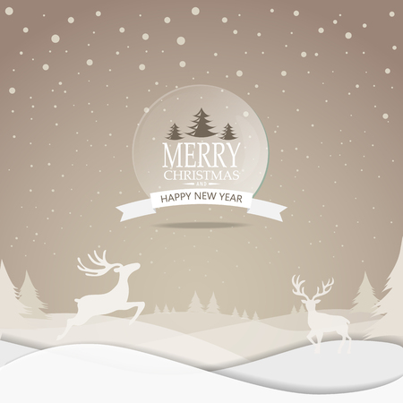 wallpaper background: Merry Christmas snowfall scenic greeting card with lettering logo. can be use for background backdrop and web page design, vector illustration. Illustration