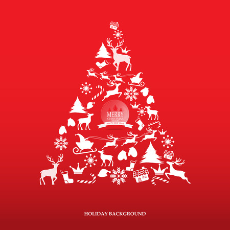 Feliz Navidad nevadas tarjeta de felicitación escénica con el logotipo de las letras. se puede utilizar para el fondo telón de fondo y el diseño de páginas web, ilustración vectorial.