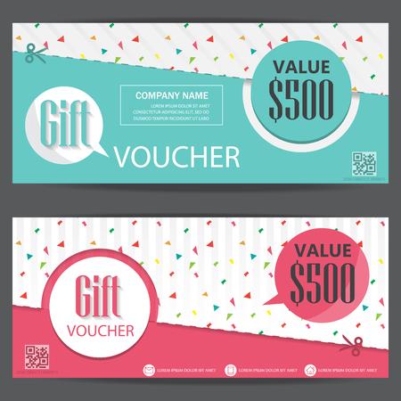 abstrait: certificat-cadeau de bon modèle de coupon, le style mignon et moderne. peut être utilisé pour carte d'achats de l'entreprise, la vente à la clientèle et à la promotion, la mise en page, bannière, conception de sites Web. illustration vectorielle