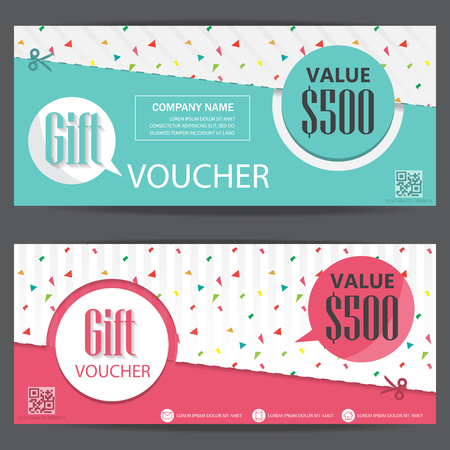 gift voucher certificate coupon template, cute and modern style. can be use for business shopping card, customer sale and promotion, layout, banner, web design. vector illustration Vectores