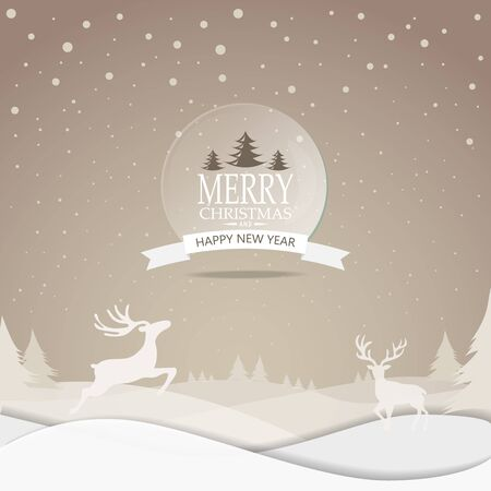 scenic: Merry Christmas snowfall scenic greeting card with lettering logo. can be use for background backdrop and web page design, vector illustration. Illustration
