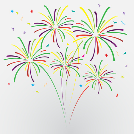 fireworks: confetti and firework background, can be use for celebration, new year, birthday, christmas greeting card.  also design for web page, business banner, vector illustration