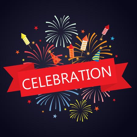 慶典: 火花和煙花的背景與旗幟。可UE用於chirstmas,節日慶典,聚會,新年活動。矢量插圖 向量圖像