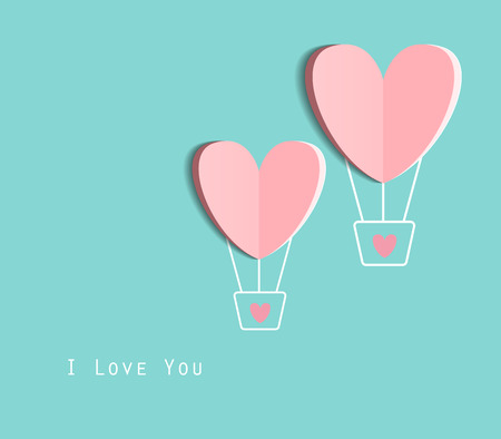 Symbol of love on sweet blue background, greeting card, Flat design Happy Valentines. can be add text. vector  illustration
