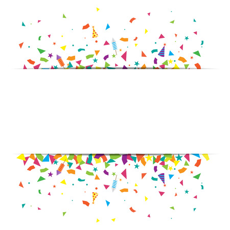 page design: confetti and firework background, can be use for celebration, new year party, christmas card.  also design for web page, business sale banner, vector illustration