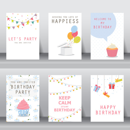 greeting card: birthday, holiday, christmas greeting and invitation card.  there are balloons, gift boxs, confett, cup cake. vector illustration Illustration