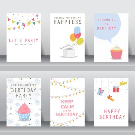 globos de cumpleaños: cumpleaños, fiesta, saludo de navidad y tarjeta de invitación. hay globos, cajas de regalo, confett, torta de la taza. ilustración vectorial