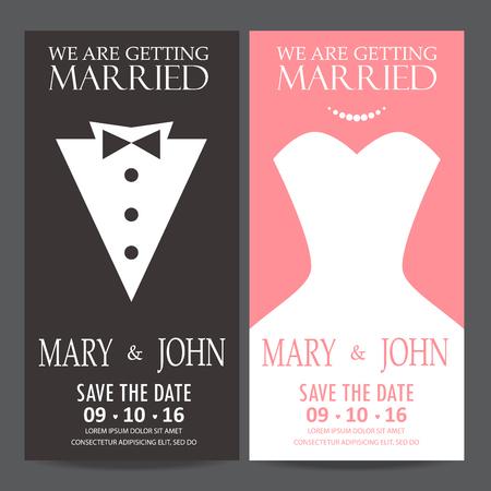 Carta invito di nozze, la sposa e il concetto abito dello sposo. amore e San Valentino. illustrazione vettoriale Archivio Fotografico - 48758257