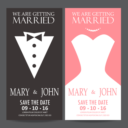 wedding invitation card, bride and groom dress concept. love and valentine day. vector illustration Vectores