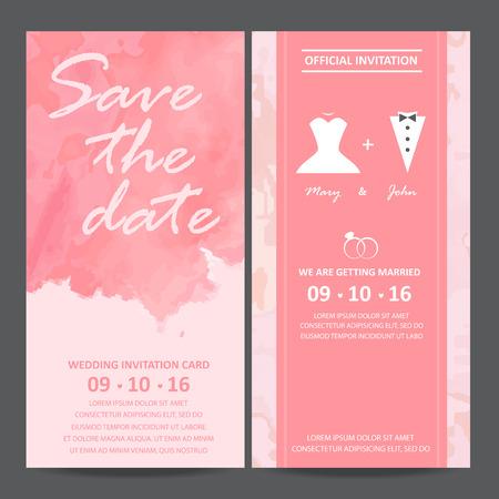 Hochzeitseinladungskarte, Aquarellentwurf. Braut und Bräutigam Kleid Konzept. Liebe und Valentinstag. Vektor-Illustration Standard-Bild - 48758259