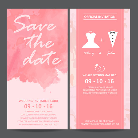 wedding dress: wedding invitation card, watercolor design.  bride and groom dress concept. love and valentine day. vector  illustration