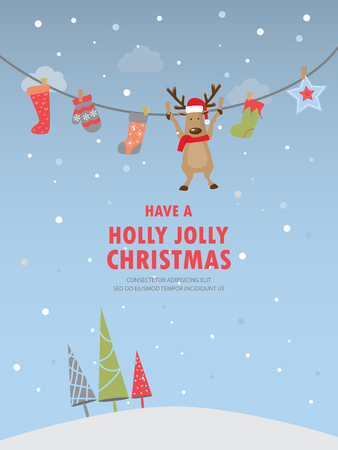 dear: christmas background, poster, greeting card, xmas party invitation. cover web page design element. text can be added. vector illustration
