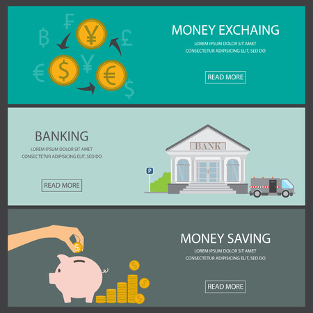 cover page: financial background and banner set. deposit saving, bank building, money exchange and transfer rate. Can be used for one page website, cover web page design, brochure template. vector illustration Illustration