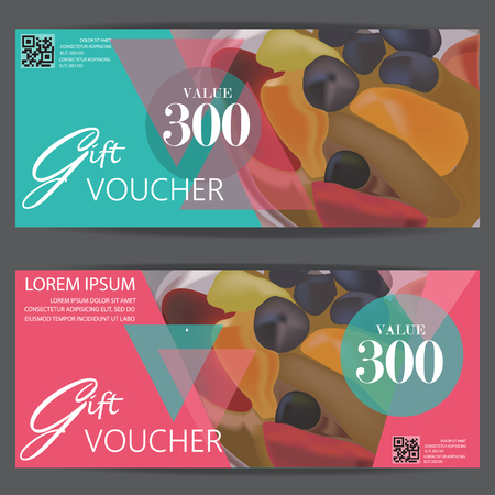 gift voucher certificate coupon template, modern style for restaurant and cafe food business. can be use for shopping card, customer sale and promotion, layout, banner, web design. vector