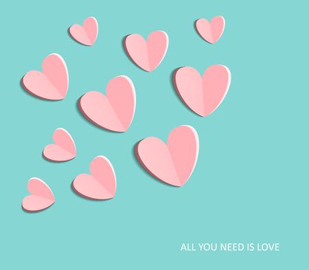 Simbolo di amore su sfondo blu dolce, biglietto di auguri, design piatto Buon San Valentino. può essere aggiungere testo. illustrazione vettoriale Archivio Fotografico - 48758295