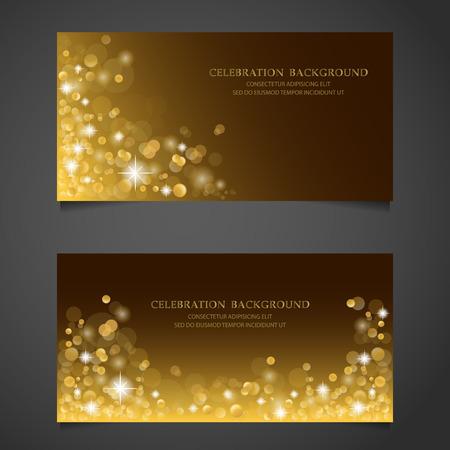 Golden sparkles banner set. achtergrond, premium concept. cadeaubon certificaat coupon. webdesign. vector illustratie