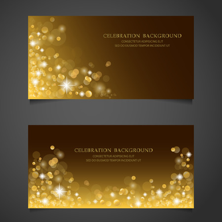 Golden sparkles banner set. background, premium concept. gift voucher certificate coupon. web design. vector illustration