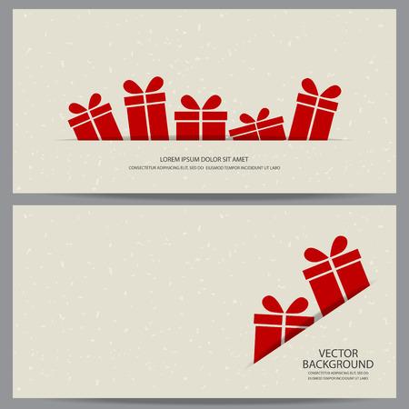 gift in celebration of a birth: Navidad y nueva plantilla cupón certificado de bono regalo del año. puede ser el uso de la tarjeta de compras de negocios, la venta al cliente y la promoción, diseño, bandera, diseño de páginas web. ilustración vectorial Vectores