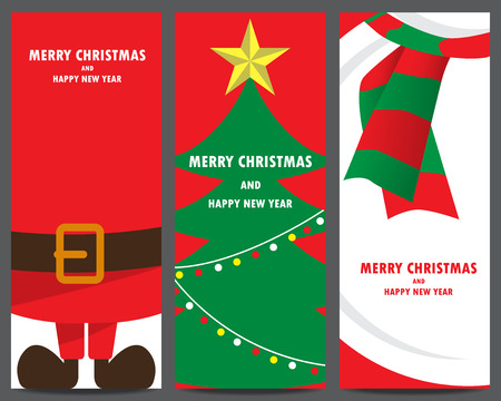 christmas tree set: christmas invitation and greeting template. santa clause, xmas tree, snowman. can be use for business shopping gift voucher, customer sale promotion, layout, banner, web design. vector illustration