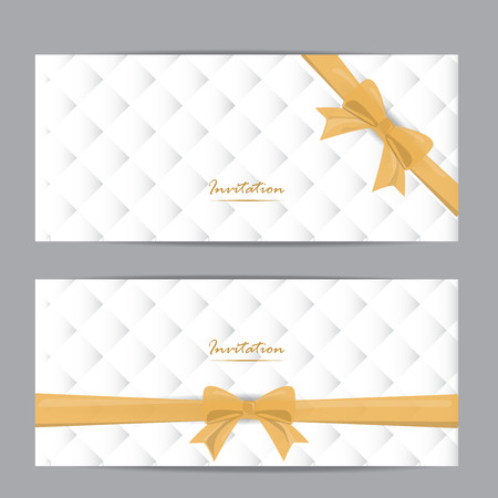 gift ribbon: white and gold gift voucher certificate coupon template, can be use for business shopping card, wedding invitation card, layout, banner, web design. vector illustration