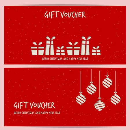 Natale e Capodanno dono coupon modello di certificato voucher. può essere utilizzato per biglietto da visita lo shopping, la vendita al cliente e la promozione, il layout, banner, web design. illustrazione vettoriale Archivio Fotografico - 48758340