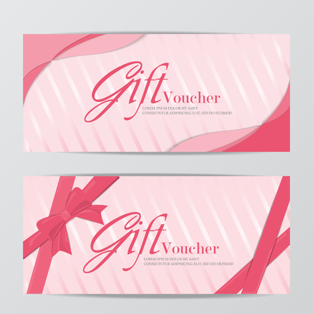 promotion girl: girl gift voucher certificate coupon template, sweet pink cute design. can be use for business shopping card, customer sale and promotion, layout, banner, web design. vector illustration Illustration
