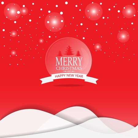scenic: Merry Christmas snowfall scenic greeting card with lettering . can be use for background backdrop and web page design, vector illustration.