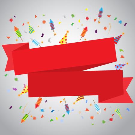 diversion: confeti y fuegos artificiales de fondo, se puede utilizar para la celebración, año nuevo, cumpleaños, tarjeta de felicitación de la Navidad. También el diseño de la página web, banner de negocios, ilustración vectorial