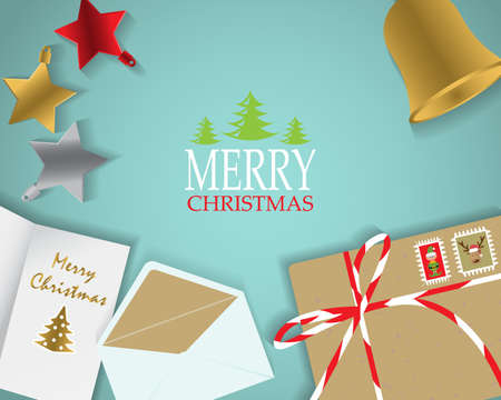 page design: christmas background, poster, cover web page design element. text can be added. top view concept. vector illustration