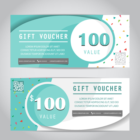 web template: confetti gift voucher certificate coupon template, can be use for business shopping card, customer sale and promotion, layout, banner, web design. vector illustration