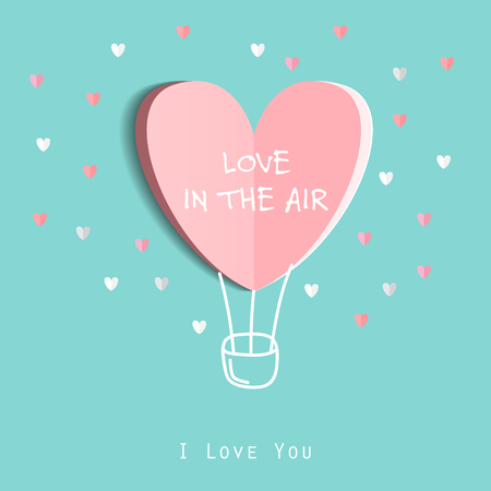 Símbolo del amor sobre fondo azul dulce, tarjeta de felicitación, diseño plano Happy Valentines. se puede añadir el texto. ilustración vectorial