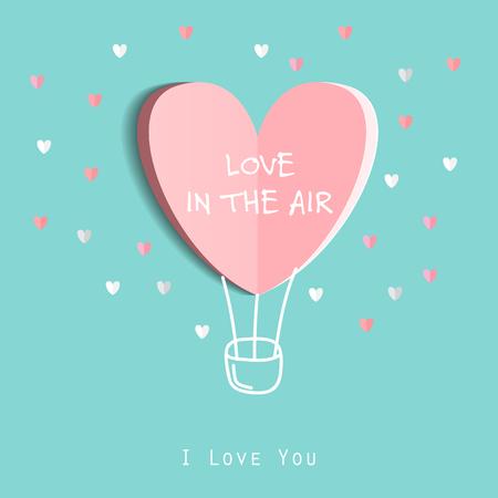 Symbol der Liebe auf süßen blauen Hintergrund, Grußkarte, flache Design Happy Valentines. werden können Text hinzufügen. Vektor-Illustration