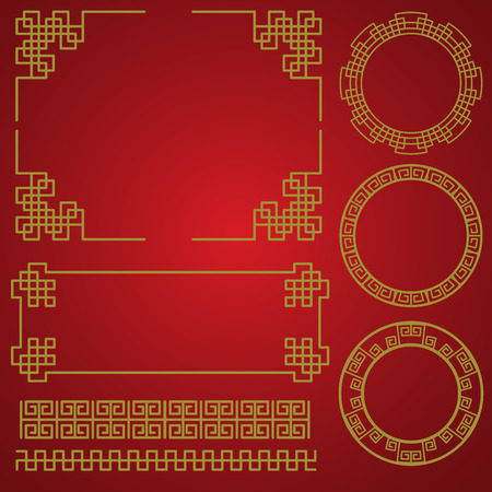 isolated chinese traditional border and frame template. gold and red classic chinese pattern. vector illustration Çizim