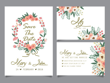 wedding invitation card templates, love and valentine day. can be use for party invitation, banner, web page design element or holiday greeting card. vector illustration
