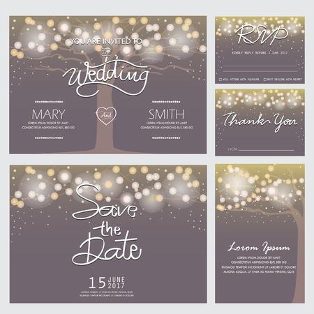 Hochzeitseinladung, RSVP, und Danke-Vorlagen, Licht und Baum-Konzept. kann für die Partei Einladung, Banner, Webseiten-Design-Element oder Feiertagsgrußkarte sein. Vektor-Illustration