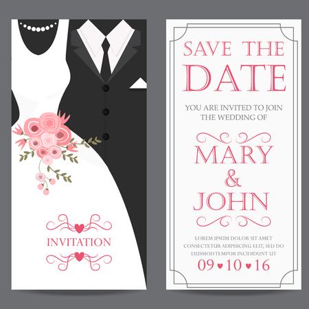 wedding invitation card, bride and groom dress concept. love and valentine day. vector illustration Stock Illustratie