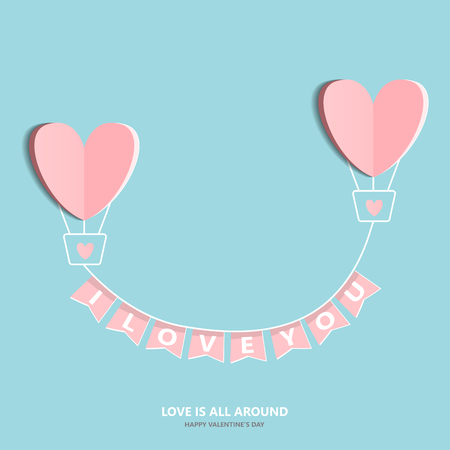 add text: Symbol of love on sweet blue background, greeting card, Flat design Happy Valentines. can be add text. vector  illustration