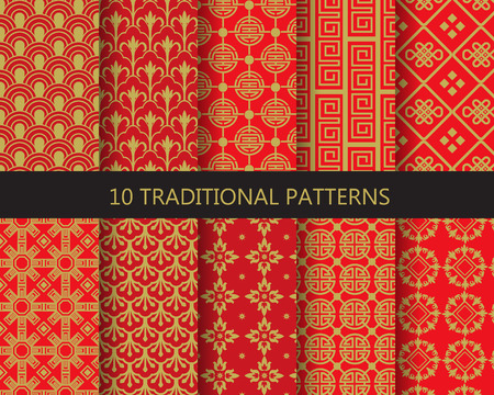 10 different traditional chinese patterns. Endless texture can be used for wallpaper, pattern fills, web page background,surface textures. Иллюстрация