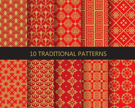 10 verschillende traditionele Chinese patronen. Eindeloze textuur kan worden gebruikt voor behang, patroonvullingen, webpagina achtergrond, oppervlaktestructuren.
