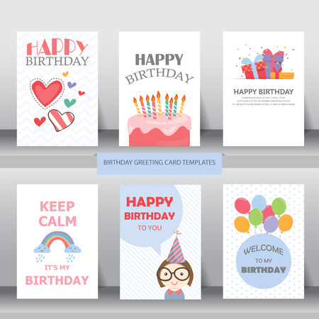 compleanno: compleanno, vacanze, auguri di Natale e carta di invito. ci sono palloncini, scatole regalo, coriandoli, cup cake. illustrazione vettoriale Vettoriali